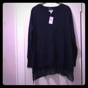 Navy Blue V Neck Maternity Sweater